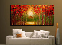 ZWPT36  100% hand-painted red landscape tree oil painting art on Canvas