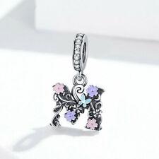 AAA S925 Sterling Silver Pendant Letter M Charm CZ To Women Bracelet Necklace