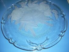 Heavy Clear Glass Christmas Platter Cake Plate w/ Etched Pinecones Holly Bells