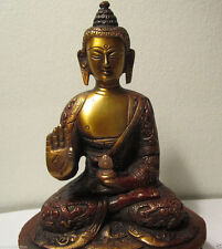 GIFT & DECOR VINTAGE COPPER FINISH BUDDHA BLESSING SAKYAMUNI BUDDHA STATUE