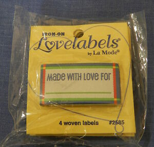"""Lovelabels """"Made with love for ............"""" - Blue Iron-on Labels"""