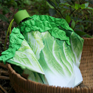 Cabbage Umbrella Three 3 Fold Anti UV Women Rain Umbrella Green Vegetables