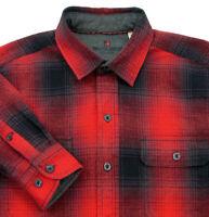 Woolrich Mens Size Medium M Red Plaid Flannel Shirt Cotton Black Buffalo Check