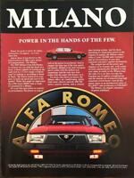 ORIGINAL 1986 Ad for 1987 Alfa Romeo Milano  - Power in the Hands of a Few