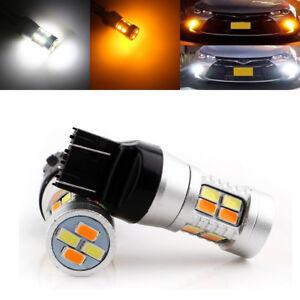 10Pcs T20 7443 5730 20smd LED Dual-Color Switchback Turn Brake Light Bulbs 12V