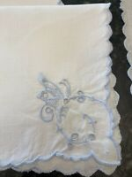 Set of 6 Vintage Dinner Cloth Napkins White Blue Embroidered Butterfly 11x11