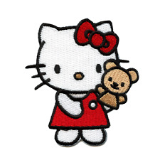 Hello Kitty With Bear Puppet Iron On Embroidered Patch