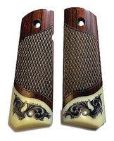 1911 Fits Colt & Clones Grips Rosewood Scrim Scroll on Ivory accent