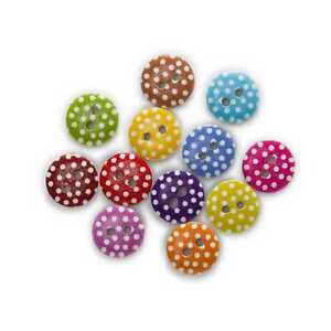 50pcs Dot Printing Wood Buttons Sewing Scrapbooking Handwork Decor 11-18mm