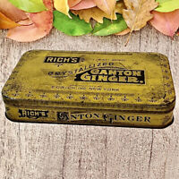 Vintage Tin Box w/ Hinged Lid Rich's Crystallized Canton Ginger Yellow OLDIE