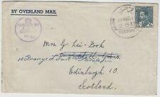 IRAQ 1940 CENSORED cover *RAF HABBANIYA-SCOTLAND* via BAGHDAD by OVERLAND MAIL