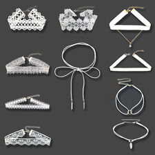 10pcs White Flower Lace Velvet Choker Chain Necklace Collar Punk Vintage Jewelry