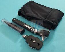 New Fiber Optic Otoscope Ophthalmoscope Examination Led Diagnostic Ent Set Black