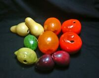 Vintage Ceramic Art Pottery Fruit Life Size Pear Plum Lemon Cornucopia Luster