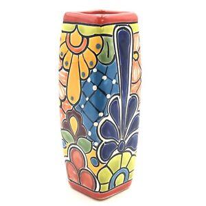 "Talavera Square Vase Handmade Mexican Pottery 9"""