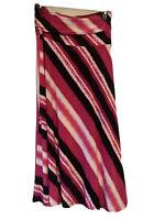INC Womens Skirt True Pink Tie Dye Size Large MidRise Asymmetrical Striped Ski