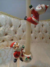 Vintage 1958 Holt Howard Christmas Santa Candleholder and climber set