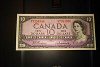 1954 $10 Dollar Bank of Canada Banknote GT7394990 EF-AU
