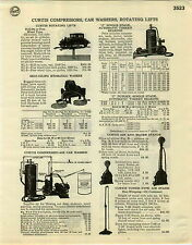 1929 PAPER AD Curtis Rotating Lifts Car Auto Garage Gas Station Air Water Pumps