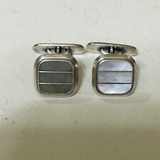 Vintage Mid Century cufflinks 835 silver and mother of pearl scandinavia design1