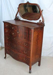 Antique Large Oak High boy Chest of Drawers Dresser – original finish