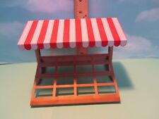 Playmobil structure BROWN MARKET STAND W/ RED & WHITE AWNING
