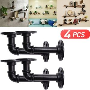 4X Pipe Shelf Brackets Industrial Iron Rustic Wall Floating Shelves Supports
