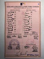 MLB Game Used RARE Lineup card May 14, 2006 New York Yankees Cancer Awareness