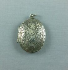 Antique Victorian Sterling Silver Locket Leaves Floral Chased 8.36 Grams