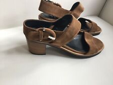 AQUATALIA Olympia Brown Leather Strappy Sandals Stacked Heel 7