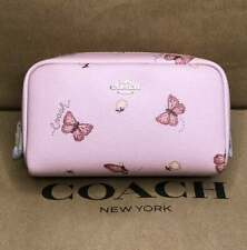 Coach Small Boxy Cosmetic Case Bag with Butterfly  Print in Blossom Pink