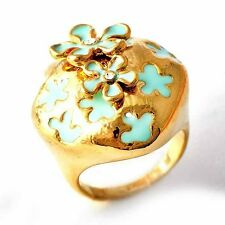 womens vintage clear crystal yellow Gold Plated blue Enamel Flower ring Size 8