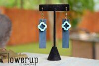 Lightweight handmade bar blue turquoise real leather statement  boho earrings