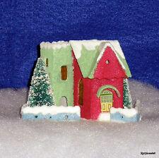Radko Putz Paper Mini House Shiny Brite SPARKLE TOWN Holly Leaf RARE NEW NIP