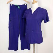 Carhartt Force Women's Xs Purple 2 Piece Scrub Set Shirt & Pants Euc