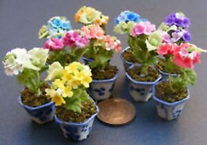 1:12 Maßstab Set Mit 3 Iris Blumen IN Keramik Topf Tumdee Puppenhaus Garten ML