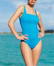 Calvin Klein Swim One Piece Sz 8 Cerulean Blue Pleated Tank Swimsuit CG5MS155