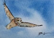 ACEO Miniature Painting by Bill Lupton - Owl in Flight