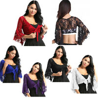 Womens Belly Dance Crop Top Lace Shrug Tops Cover Up Bolero Blouse Cardigan Wrap