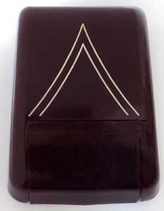 Vintage Burgundy Red with White Chevron Plastic Watch Box by Alsten USA