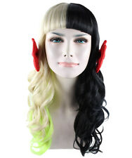 Celebrity popstar iconic Mel Martinez Style Rainbow/Black wig with red ribbons