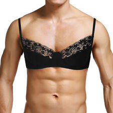 Sissy Sexy Men Lingerie Smooth Lace Triangle Bralette Wire-Free Unlined Bra #L