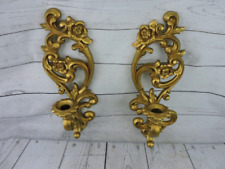 Vintage Mid Century Gold Homco Syroco Wall Sconces Candle Holders 71 Usa