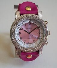 Silver Finish Pink Color Soft Leather Band Fashion Watch