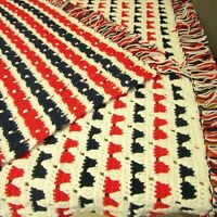 Handmade Afghan Crocheted Red White Blue Patriotic Throw Lap Blanket U.S.A