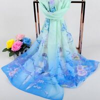 Womens Flower Printed Wrap  Amazing Long Chiffon Stole Scrawl Soft Scarf t