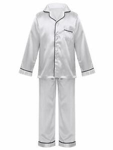 Kids Boys Girls Satin Silk Pajamas Set Button-Down Shirt Top+Pants Sleepwear