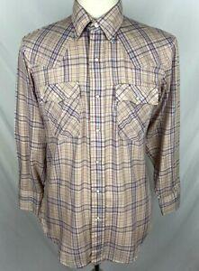 VTG LEVIS Men MEDIUM Light Brown Plaid Sawtooth Snap Button Long Sleeve Shirt