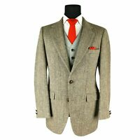 Harris Tweed Men's Brown Herringbone Sport Coat Jacket Blazer Size 39 Long