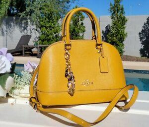 Coach MINI Sierra Satchel mustard crossgrain Leather 27591 purse crossbody bag